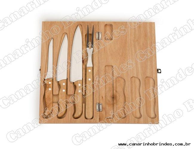 Kit churrasco 4 peças em estojo de madeira Personalizado-4273