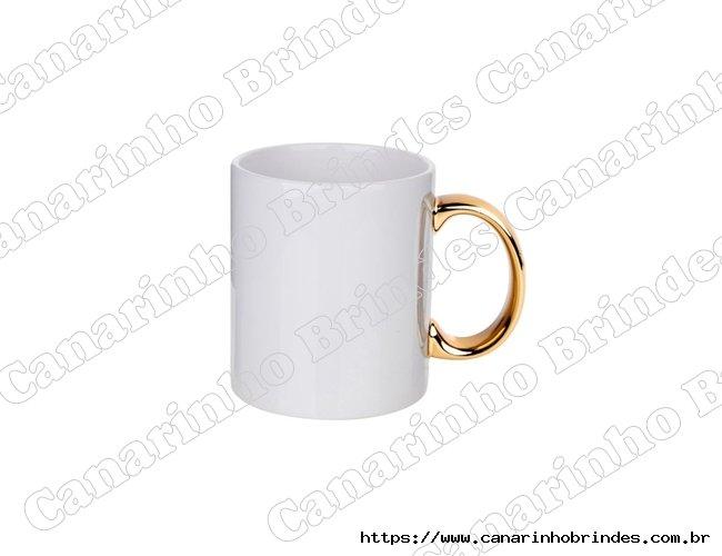 Caneca Personalizada de Cerâmica com alça dourada