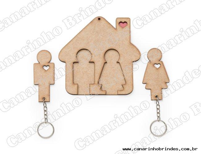 Porta Chaves Casinha com Chaveiro Formato Casal