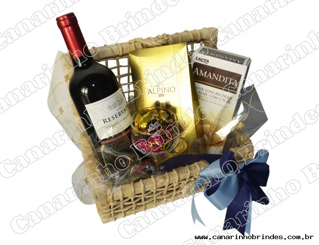Cesta com chocolate e vinho - 2968
