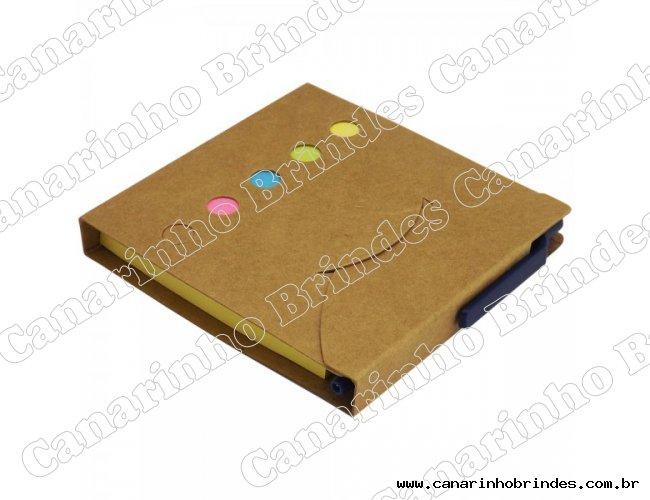 Bloco de Anotações Ecológico c/ Post-it, marcadores de páginas e caneta - 1341