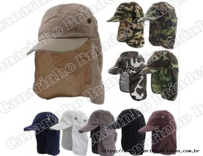 Boné Chapéu Camuflado Verde Ou Marrom Proteção Pescoço Nuca