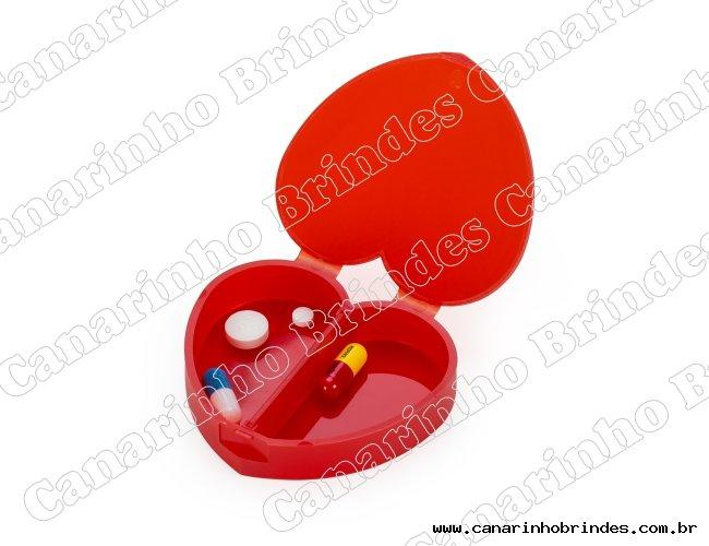 Porta Comprimido Plástico de Coração