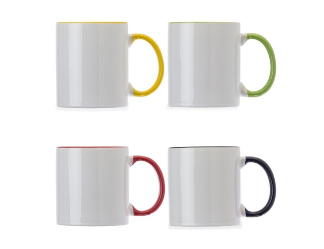 Caneca Porcelana 350ml com Borda Colorida - 1013