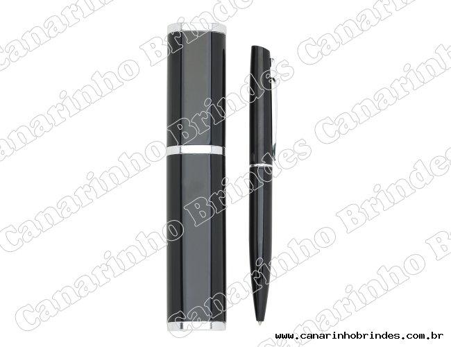 Caneta metálica em estojo tubo plástico-442