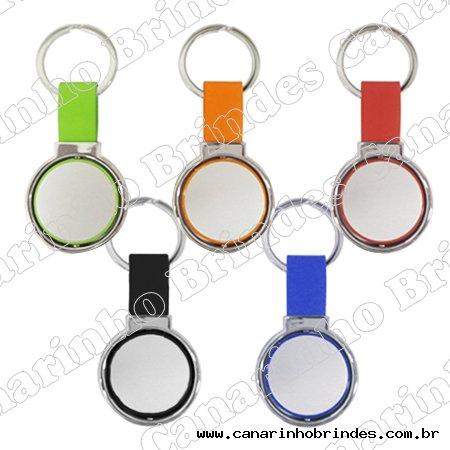 Chaveiro de Metal c/ Detalhe em Couro Colorido 4095