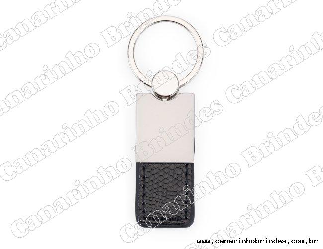 Chaveiro Metal com Couro Personalizado-