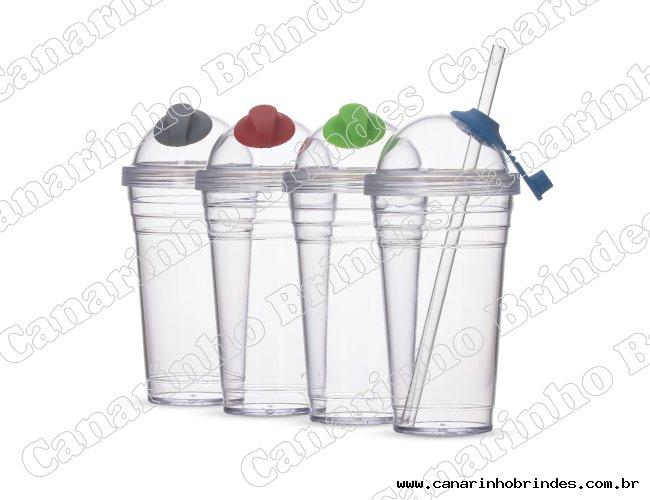 Copo Plástico com Canudo 480ml 1225