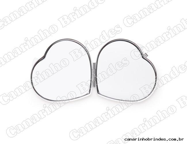 Espelho Metal Duplo Coração com Aumento 4355