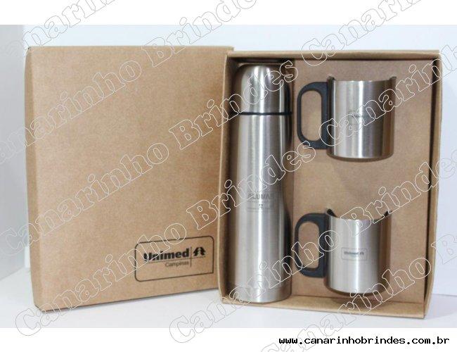 Kit Garrafa Térmica + 2 canecas Personalizado - 2951