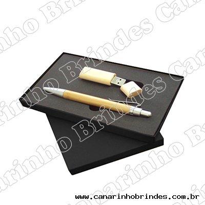 Kit Caneta e Pen Drive Bamboo 411