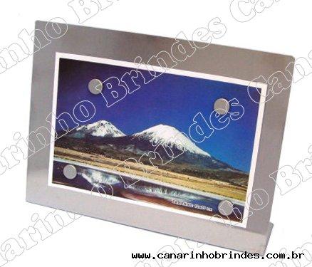 Porta retrato horizontal, c/ 4 imãs - aço inox escovado-4613