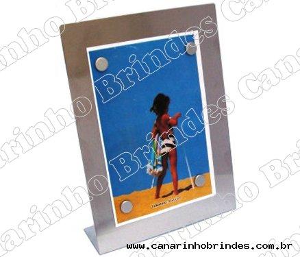 Porta retrato vertical, c/ 4 imãs - aço inox escovado-4614
